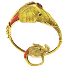 Coral 18k Gold Mama and Baby Elephant Bracelet and Ring