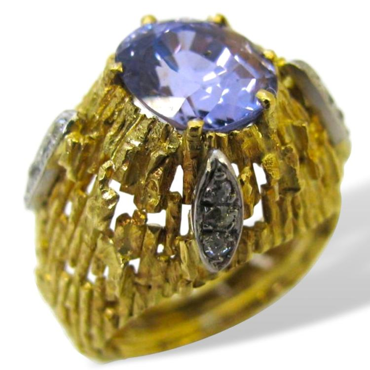 Andrew Grima Lavender Sapphire 18k Gold Ring