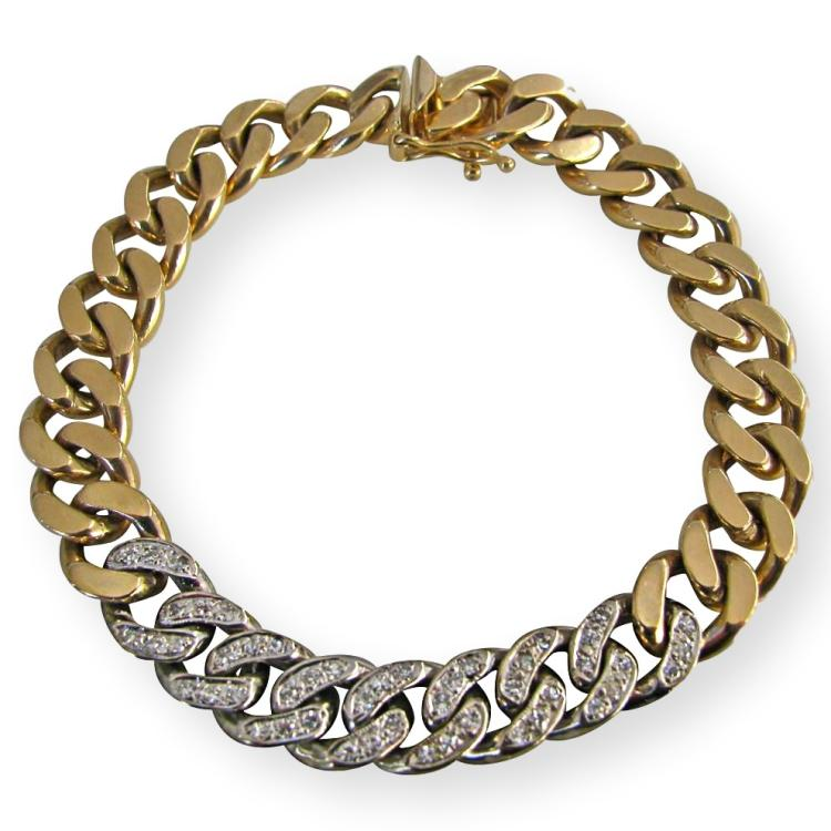 Tiffany & Co. Diamond Gold Reversible Link Bracelet