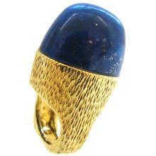 R. Stone Lapis Lazuli Gold Ring circa 1970