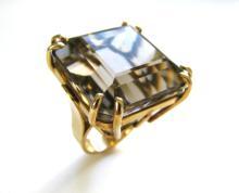 A Gold and Smokey Quartz Retro Ring, c1945