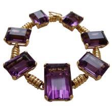 18k Gold and Amethyst Retro Bracelet, c 1945