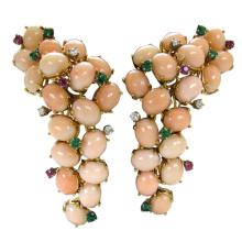 A Pair of Coral Ear Clips c1960