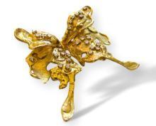 Bett Gury Diamond and Gold Butterfly Brooch Circa 1970