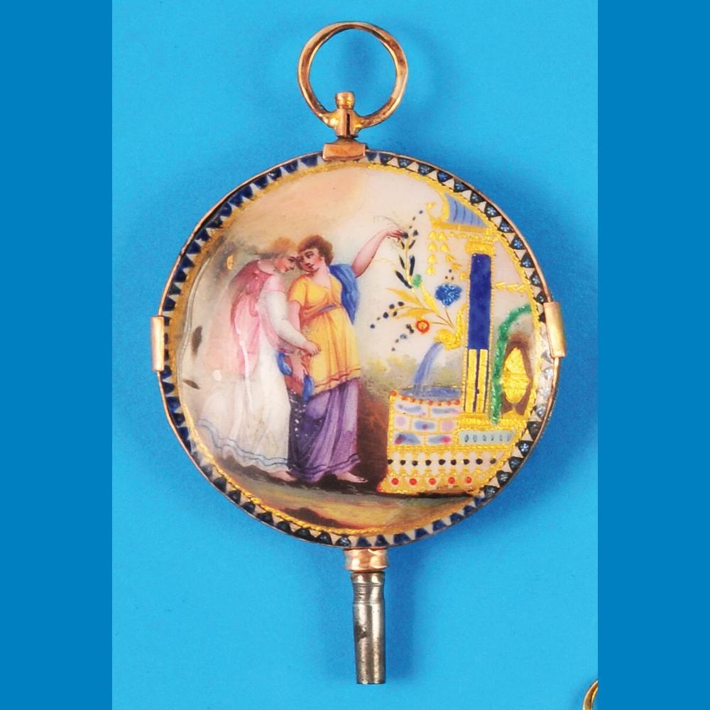 Golden enamel pocketwatch key