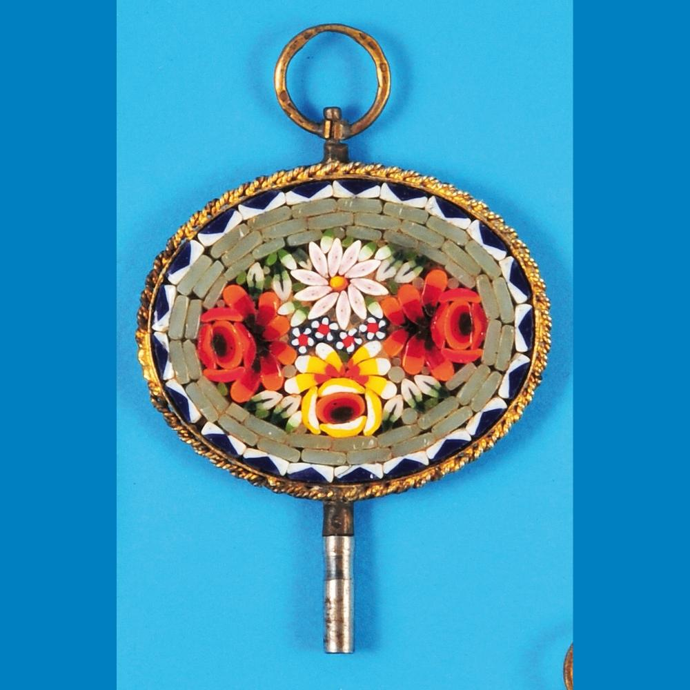 Mosaic Pocket Watch Key in Gold Plated Setting