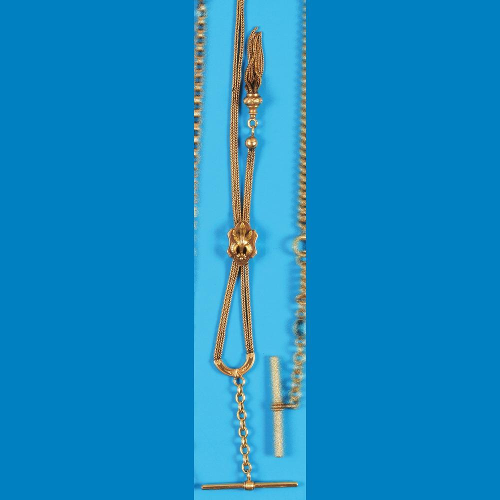 Golden pocket watch chain