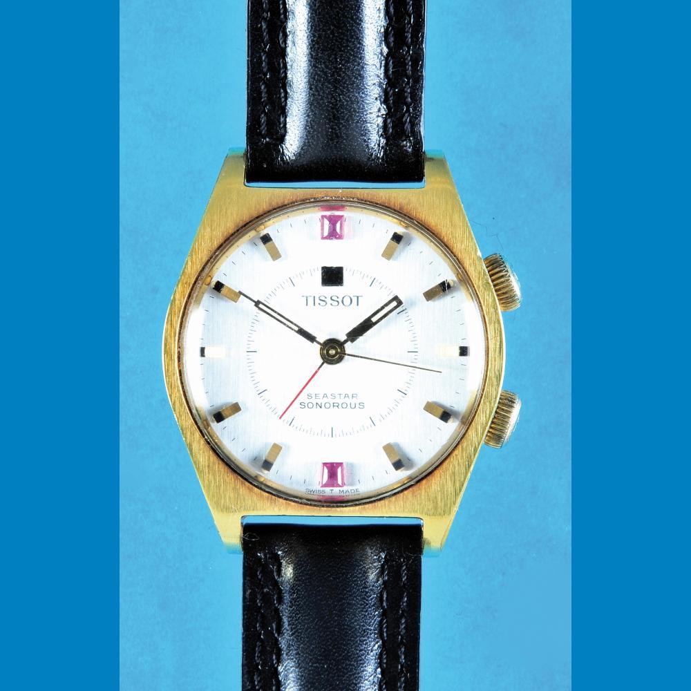 Gold-plated wristwatch with alarm, Tissot Seastar Sonorus
