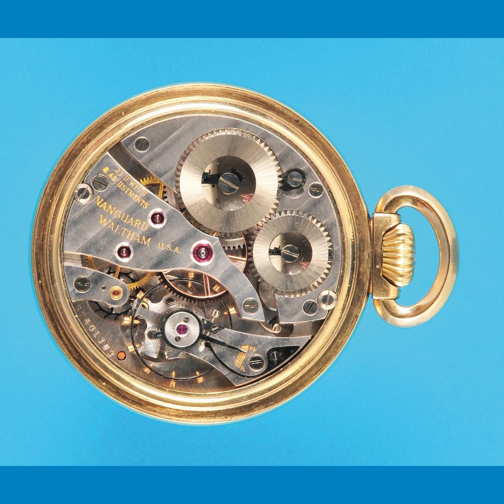 "Waltham ""Vanguard"", gold-plated pocket watch"