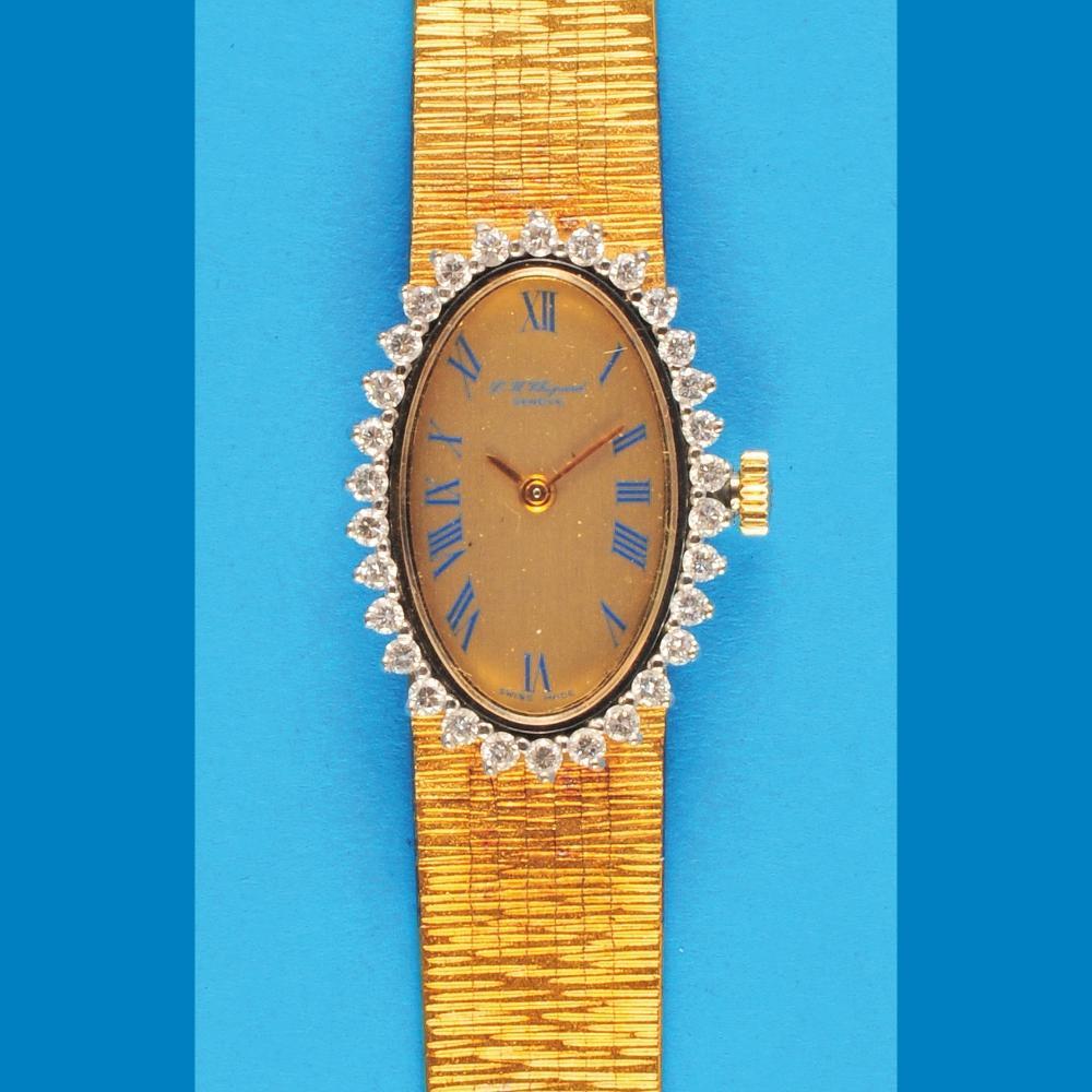 L.-U.Chopard, Genève, oval ladies golden wristwatch