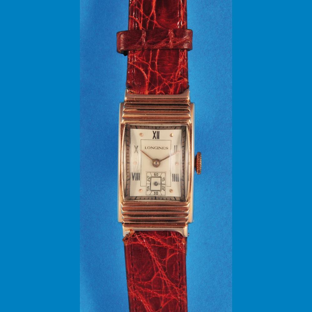 Longines, rectangular golden wristwatch
