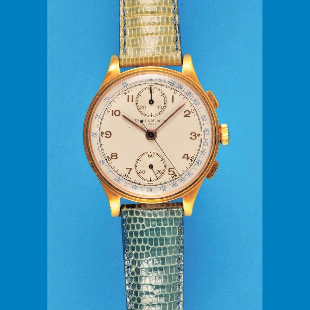 Baume & Mercier golden wristwatch chronograph