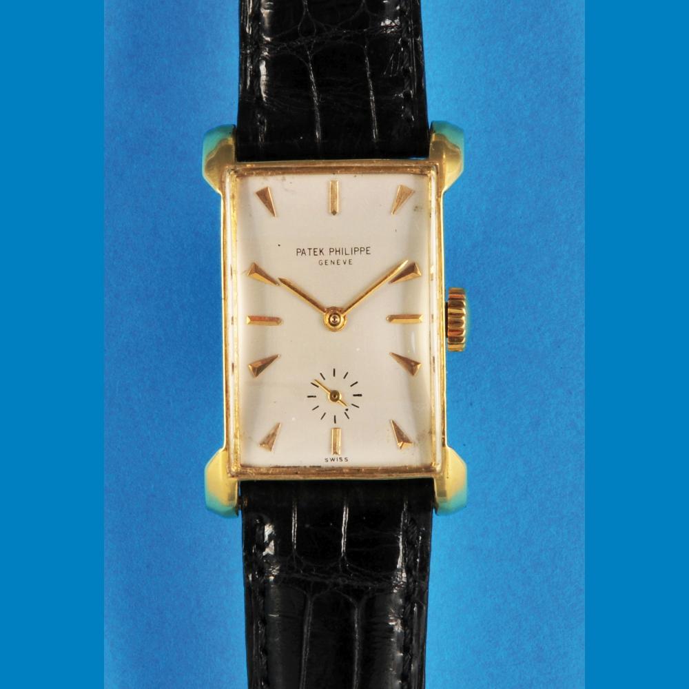 Patek Philippe Genève, rectangular golden wristwatch
