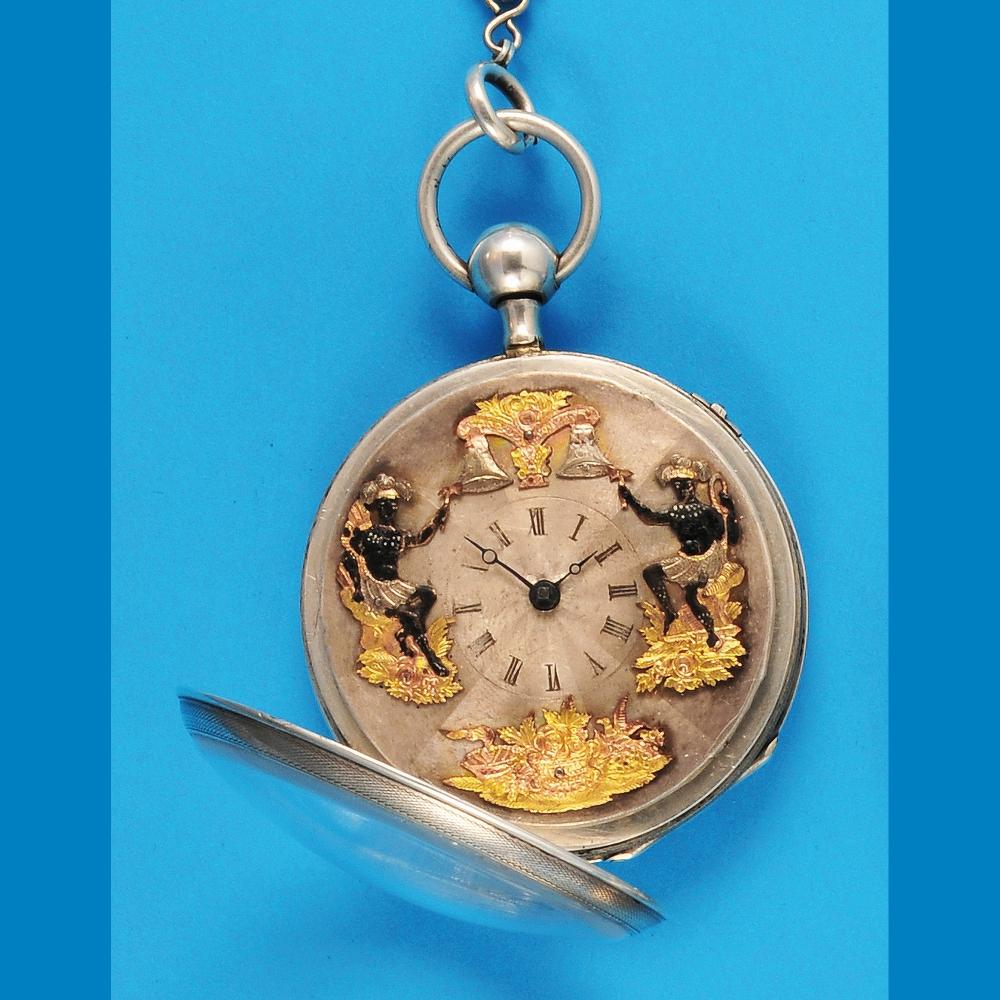 Silver spindle pocket watch