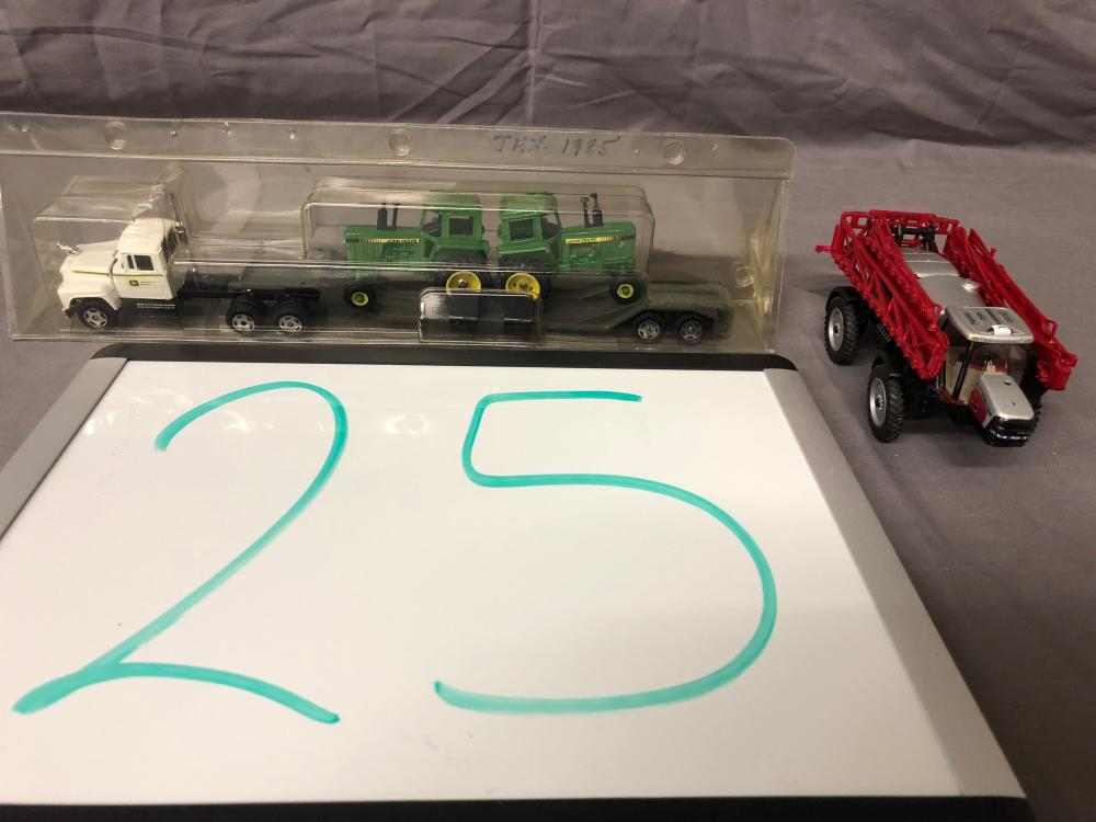 1/64th Scale JD Semi w/ Tractors & Case IH Patriot