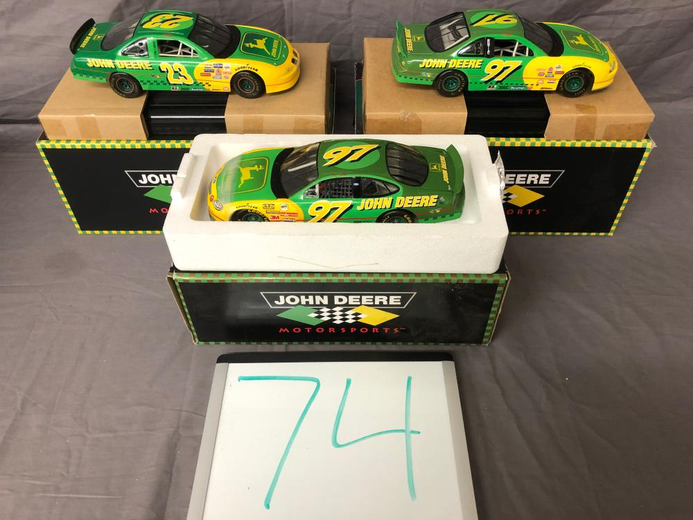 (3) 1/18th Scale Chad Little John Deere Cars