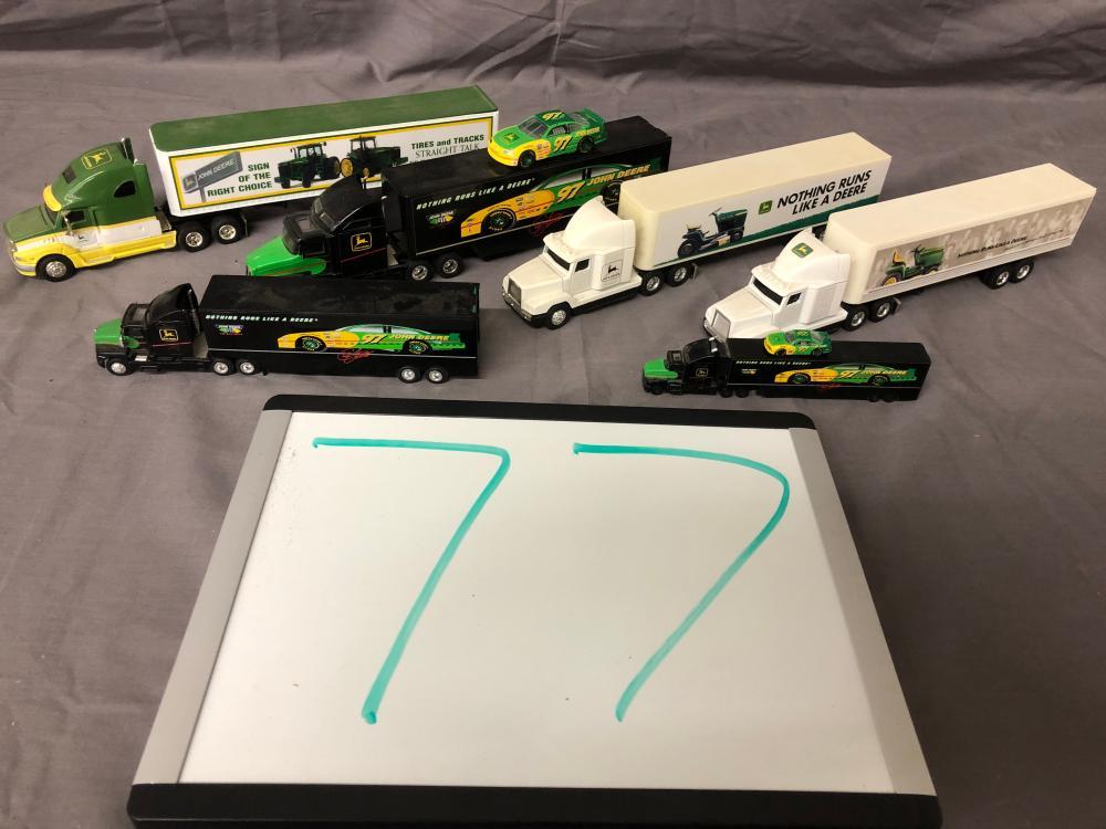 (6) John Deere Racing Team Semis & Trailers