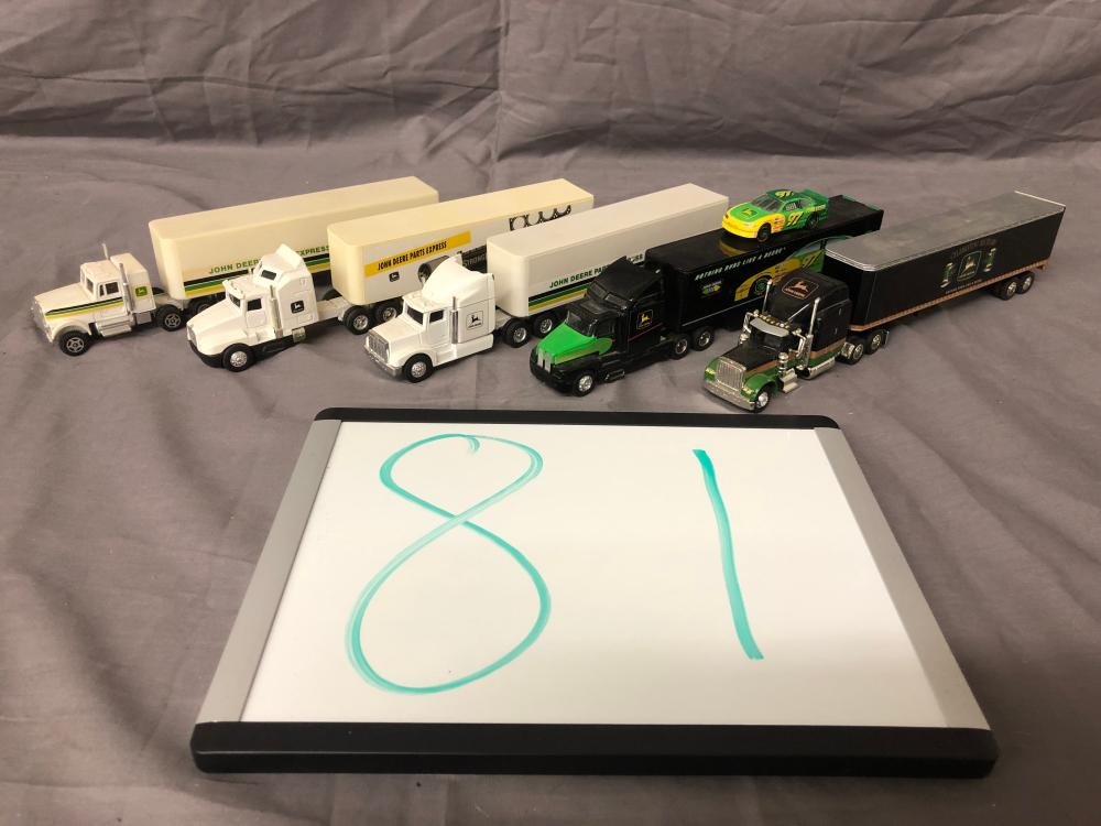 (5) 1/64th Scale John Deere Semis & Trailers