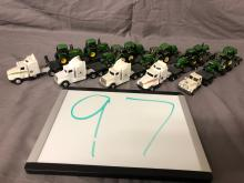Lot 97: (5) 1/64th Scale John Deere Semis & Trailers