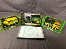 Lot 101: (3) 1/25th Scale John Deer Pickups