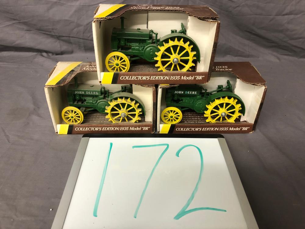 (3) 1/16th Scale John Deere BR Tractors