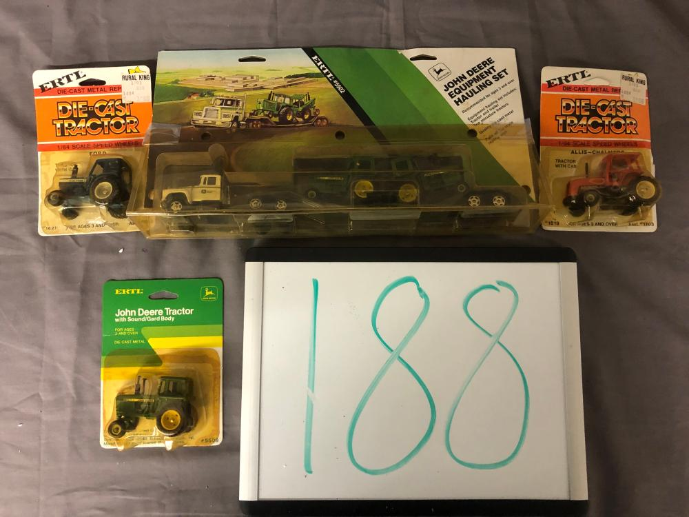 (4) 1/64th Scale JD, AC, & Ford Tractors