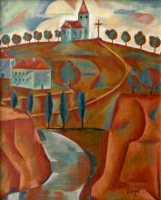 Jindřich Štyrský - Church on the Hill / Saint Sebastian (double-sided painting)