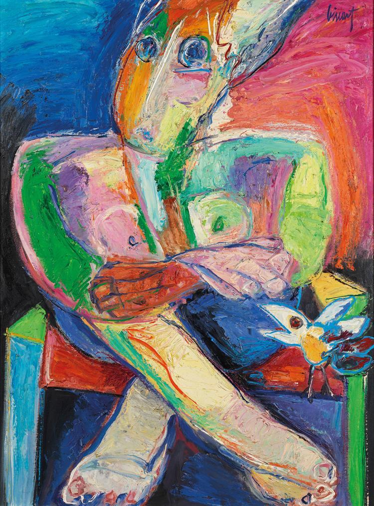 Pierre BINART (né en 1933)  SANS TITRE, PERSONNAGE AVEC OISEAU