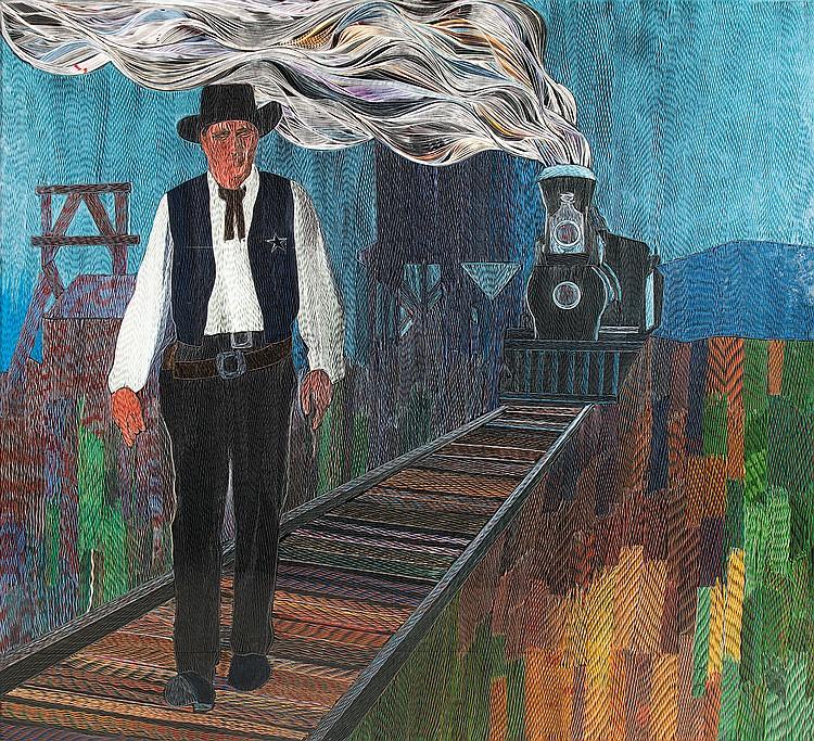 Dionyssopoulos PAVLOS (né à Filiatra, Grèce, 1930)  LE TRAIN SIFFLERA TROIS FOIS