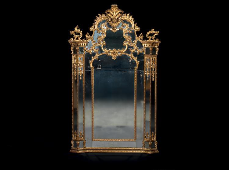 important miroir a encadrement a parcloses ancien travail it. Black Bedroom Furniture Sets. Home Design Ideas