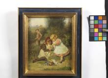 Victor GILBERT (1847-1933)  ENFANTS À LA RIVIÈRE  Huile sur toile marouflée