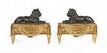 PAIRE DE FEUX « AUX LIONS » Attribué à