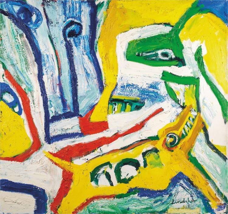 Bengt linsdtr m 1925 2008 jeux nomades peinture sur toile for Peinture sur toile