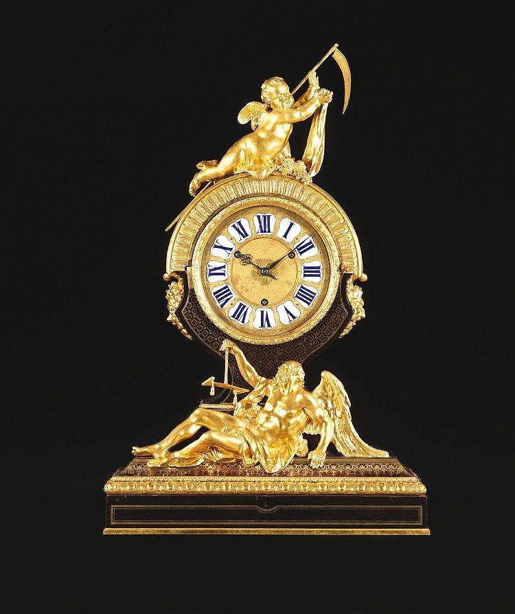 """PENDULE """" L'AMOUR TRIOMPHANT DU TEMPS """" OU """" LE TEMPS COUCHé """" Par André-Charles BOULLE (1642-1732) et son Atelier Reçu Maître Ebéniste avant 1666 Et par Jacques III THURET (1669-1738) Horloger du Roy en 1694 Paris, vers 1715 Matériaux Ebène, cuivre,"""