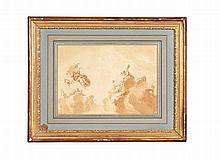 Jacob de WIT (Amsterdam, 1695 - Amsterdam, 1754) LE TRIOMPHE DE BACCHUS MATÉRIAUX: Plume, encre noire et lavis brun Signé en bas à gauche H. 25,5 cm, L. 36,6 cm