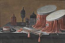 Johann Rudolf FEYERABEND dit LELONG (Bâle, 1779-Bâle, 1814) NATURE MORTE AUX TAMBOURS ET TROMPETTES MATÉRIAU: Gouache sur papier H. 15,5 cm, L. 23,5 cm (à vue)