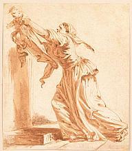 Jean-Baptiste GREUZE (Tournus, 1725 - Paris, 1805) FEMME TENANT UN ENFANT DANS SES BRAS MATÉRIAU: Lavis de bistre H. 25,5 cm, L. 22,5 cm