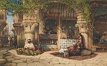 William WYLD (Londres, 1806-Paris, 1889) BOUTIQUES ALGÉRIENNES Vers 1833 MATÉRIAU :Gouache sur papier Signé en bas à droite Hors cadre : 29 x 46 cm Avec cadre : 54 x 72 cm