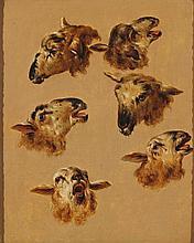 Attribué à Jean-Baptiste HUET (Paris, 1745-Paris, 1811) ETUDE DE TÊTES DE CHÈVRES Paris, seconde moitié du XVIIIe siècle MATÉRIAU: Huile sur panneau H. 38 cm, L. 32 cm