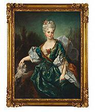 PORTRAIT D'éLéGANTE AU CHIEN Ecole française, seconde moitié du XVIIIe siècle Matériau Huile sur toile  H. 116 cm, L. 98 cm
