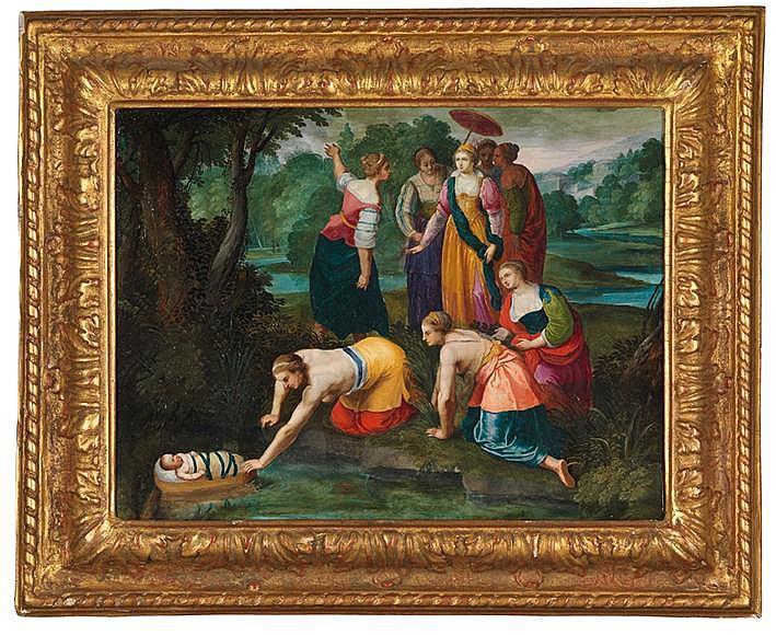 NICOLAS MOILLON (MORT À PARIS EN 1619) MOÏSE SAUVÉ DES EAUX Matériau Peinture sur cuivre Signé sur la pierre sous le bras de la jeune femme attrapant Moïse Inscriptions au dos : marque KW dans un cercle à l'encre de Chine (peut être la marque du