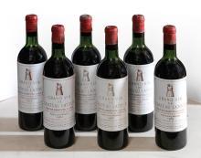 CHÂTEAU LATOUR 1961 6 bouteilles Caisse bois d'origine 4 très légèrement ba