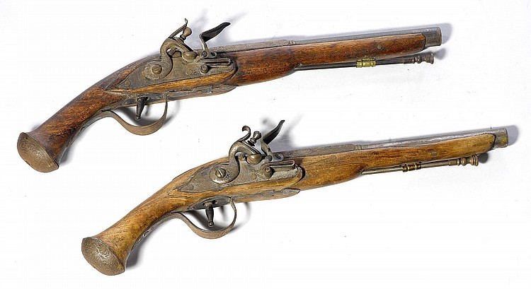 A PAIR OF FLINTLOCK PISTOLS, Italian, in 18th c.
