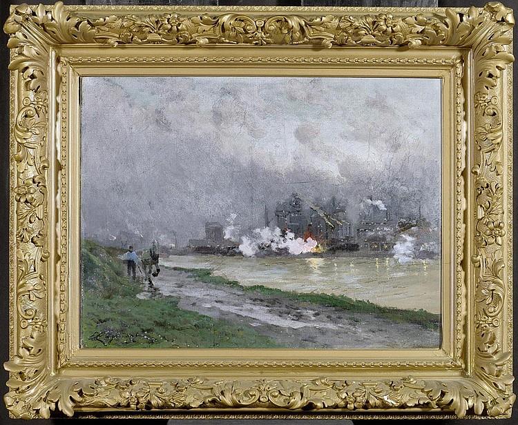 CAGNIART, EMILE (1851 Paris 1911). A factory. Oil