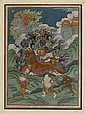 A SMALL THANKA OF DAMCAN RIDING ON A BILLY GOAT. Mongolia, 19th c. 27x20 cm.