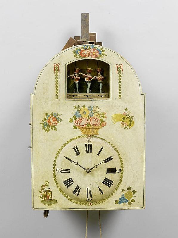 A LARGE FLUTE CLOCK WITH AUTOMATON, Biedermeier,