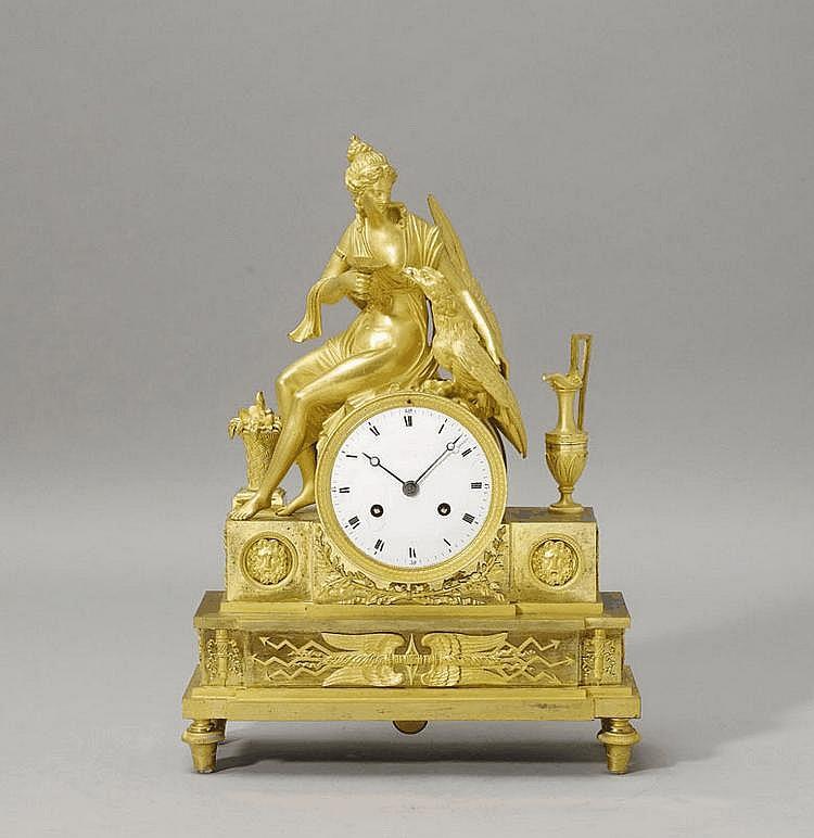 A GILT BRONZE MANTEL CLOCK, Empire, Paris, circa
