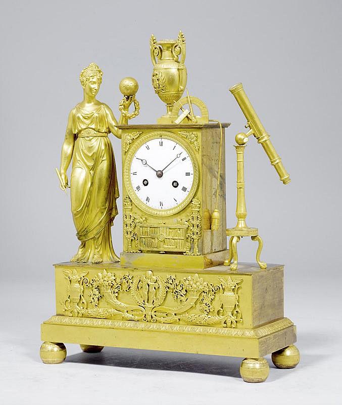 A BRONZE MANTEL CLOCK with an allegorical