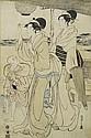 A WOOD CUT PRINT BY HOSODA EISHI (1756-1829). Oban, right sheet of the triptych 'Bijin strolling at Takanawa'. Signed: Eishi zu. 1797.