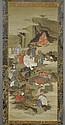 A FINE KAKEMONO OF THE 16 RAKAN WITH SEIOBO. Japan, Edo period, 136x57 cm. Nice silk brocade mounting.